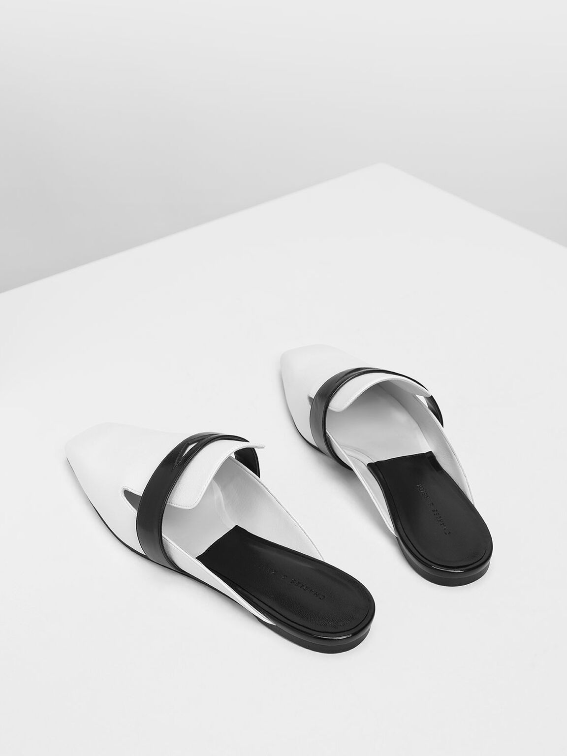 Penny Loafer Mules, White, hi-res