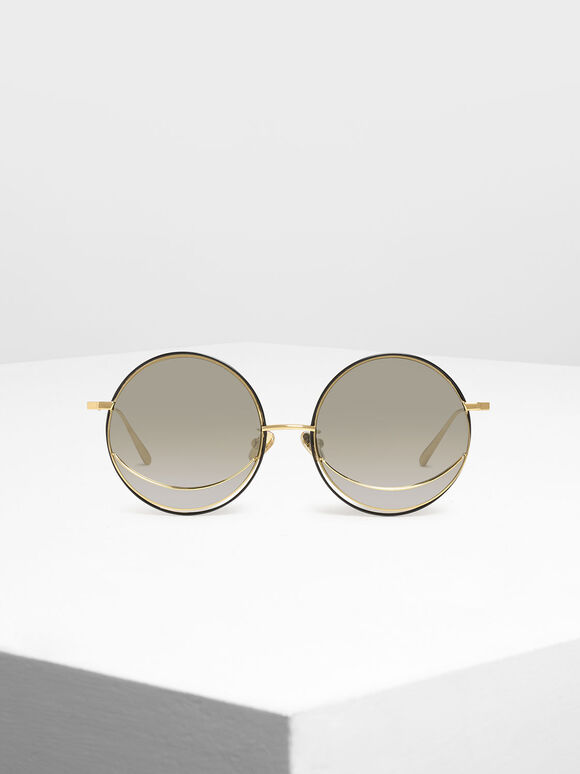 Circle Frame Sunglasses, Silver, hi-res