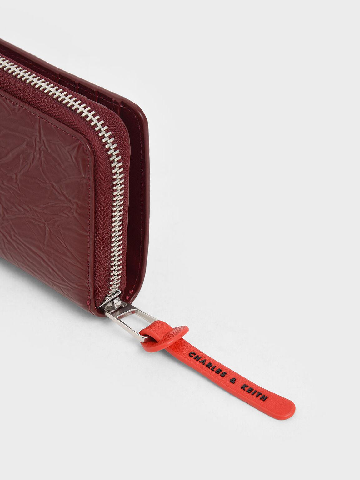 Mini Wrinkled Effect Short Wallet, Burgundy, hi-res