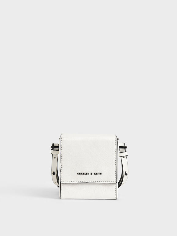 Boxy Crossbody Bag, White, hi-res