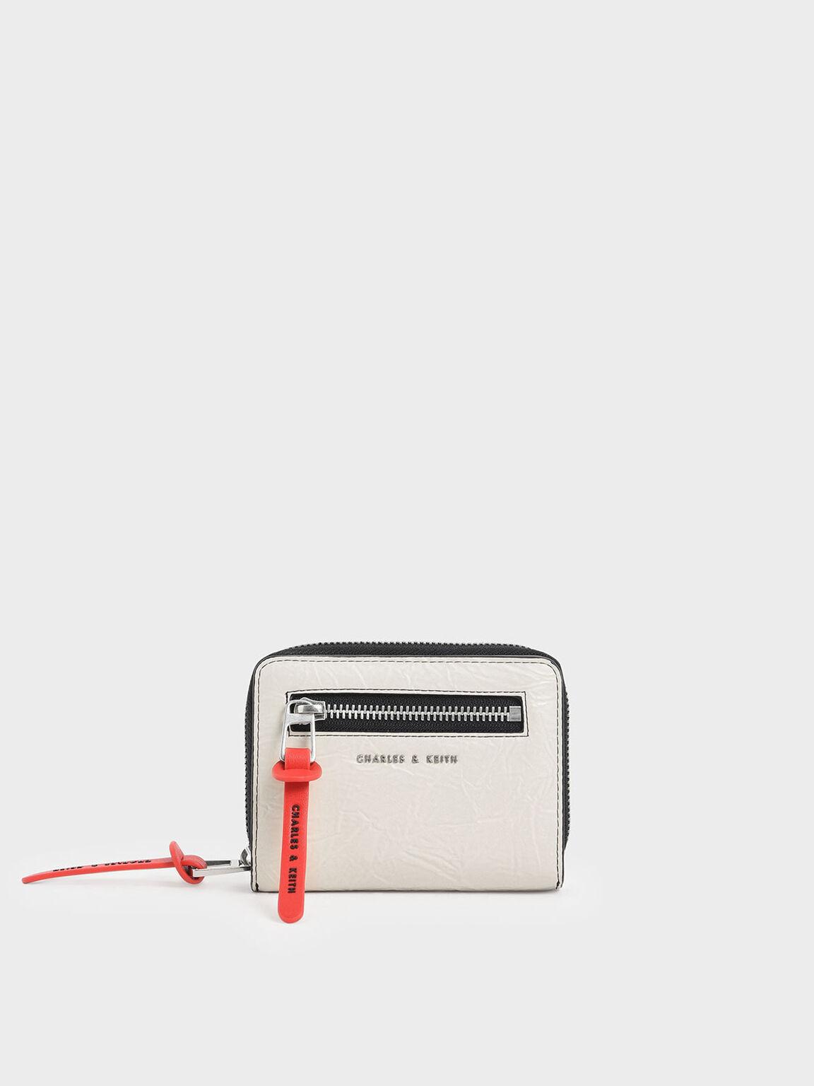 Mini Wrinkled Effect Short Wallet, Cream, hi-res