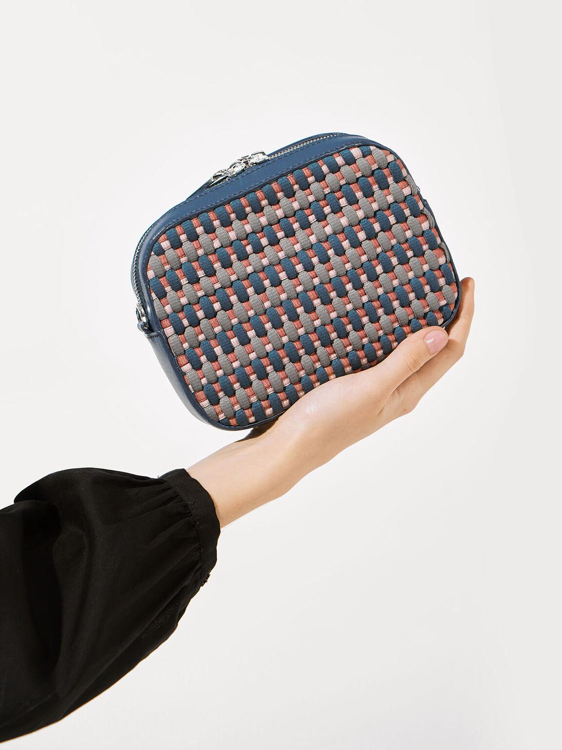 Multicoloured Woven Crossbody Bag, Teal, hi-res