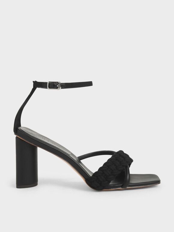 Rope Cylindrical Heeled Sandals, Black, hi-res