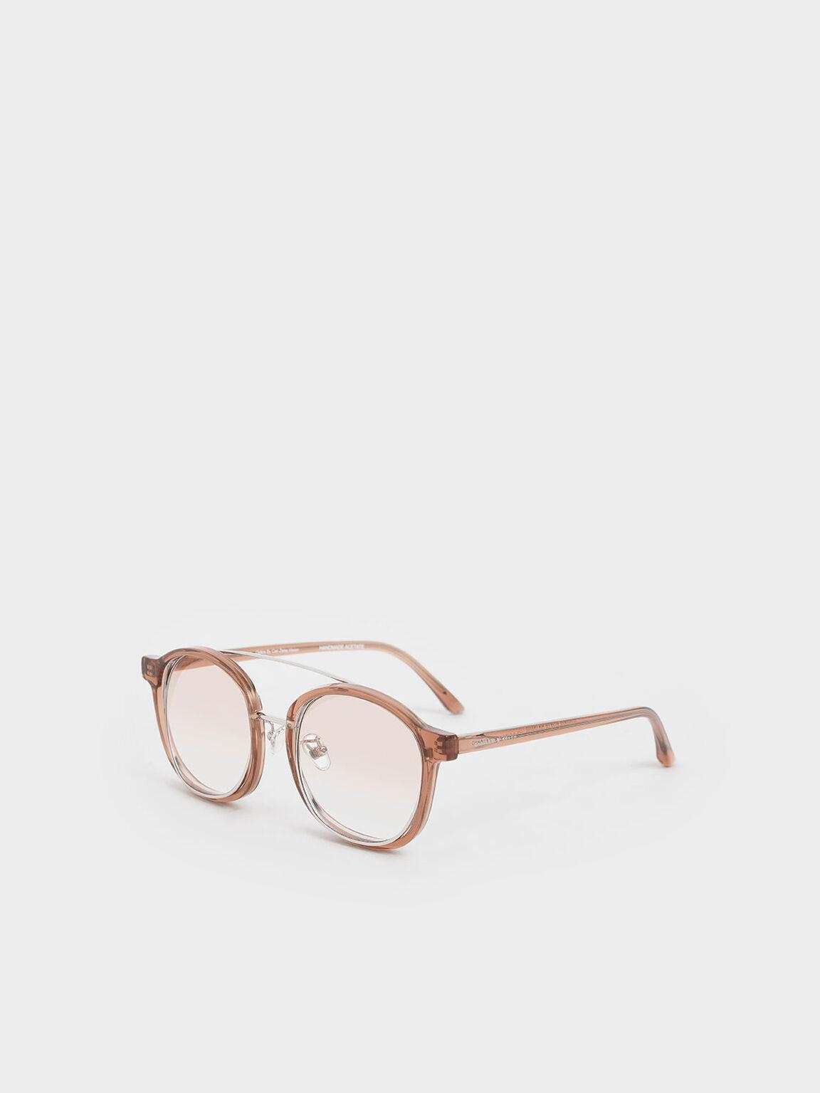 Gradient Tint Round Sunglasses, Orange, hi-res