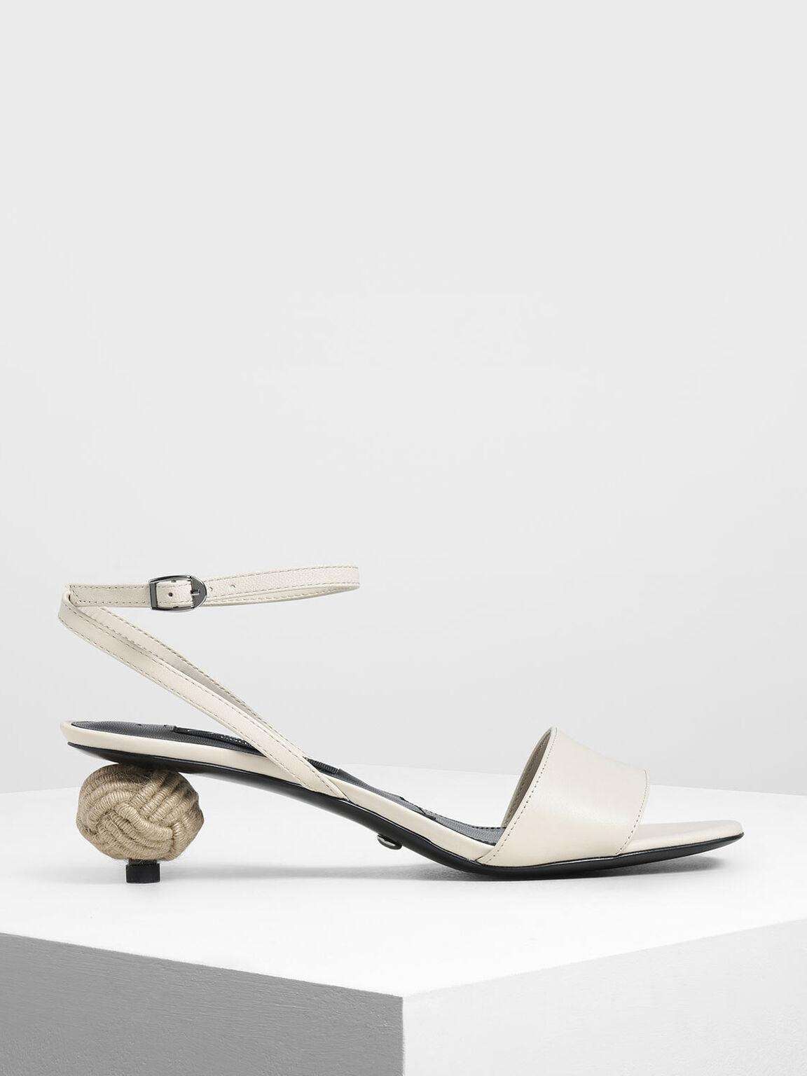 Spherical Heel Leather Sandals, White, hi-res