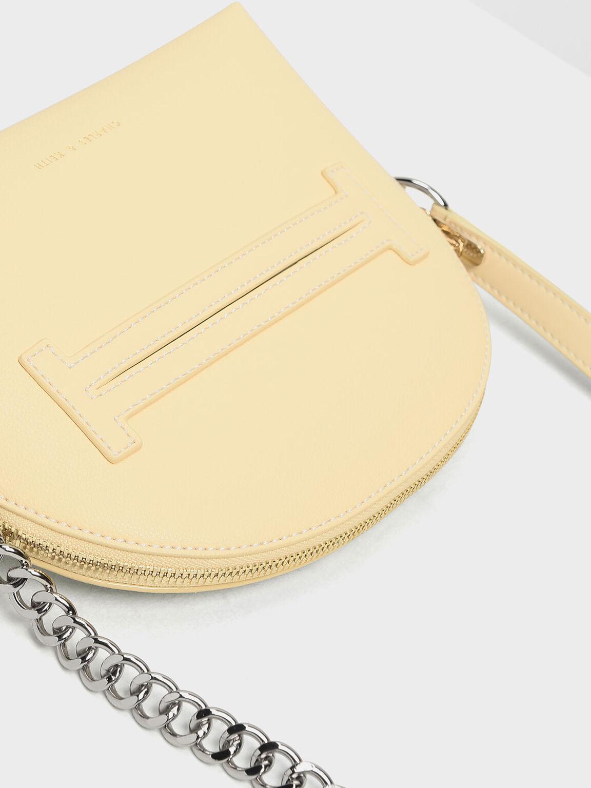 Half Moon Crossbody Bag, Yellow, hi-res