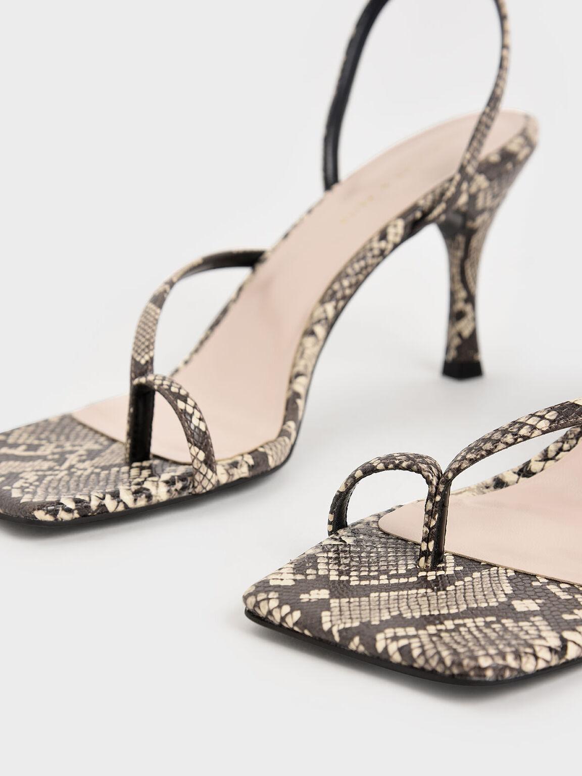 Snake Print Toe Ring Heeled Sandals, Animal Print Natural, hi-res