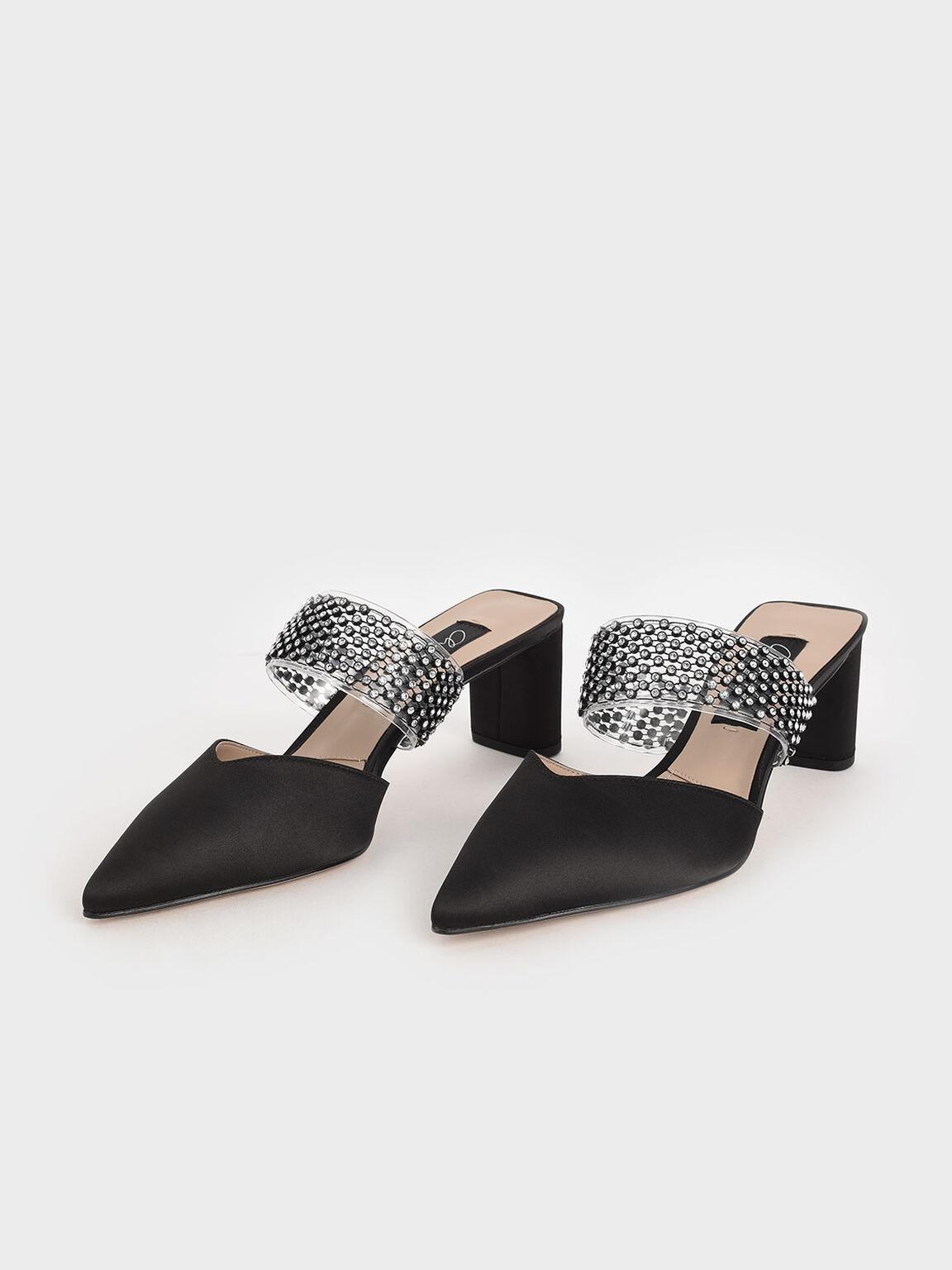 Satin Embellished-Strap Mules, Black, hi-res