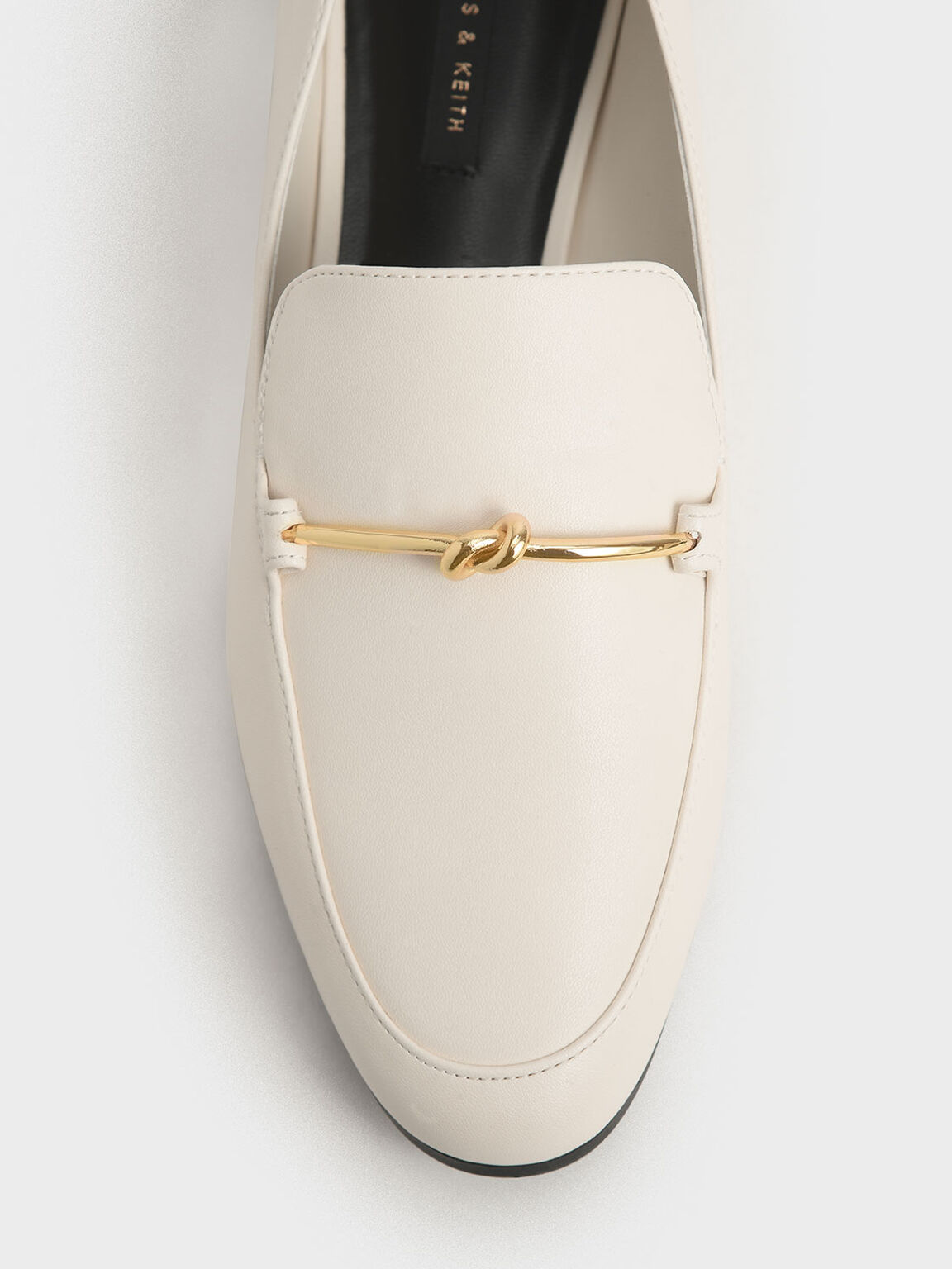 Metallic Knot Accent Loafers, Chalk, hi-res