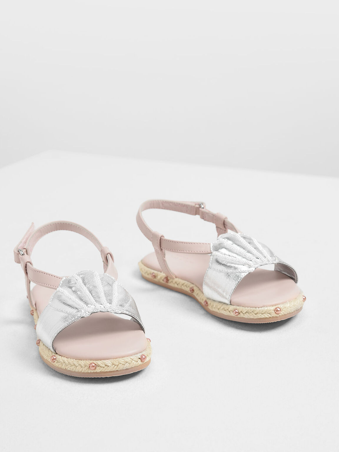 Girls' Seashell Espadrille Sandals, Silver, hi-res