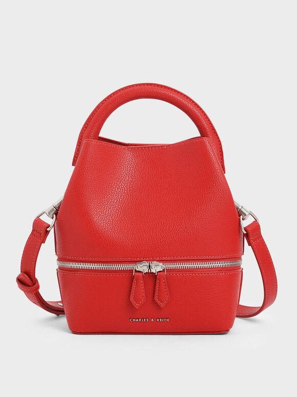 Two-Way Zip Bucket Bag, Red, hi-res