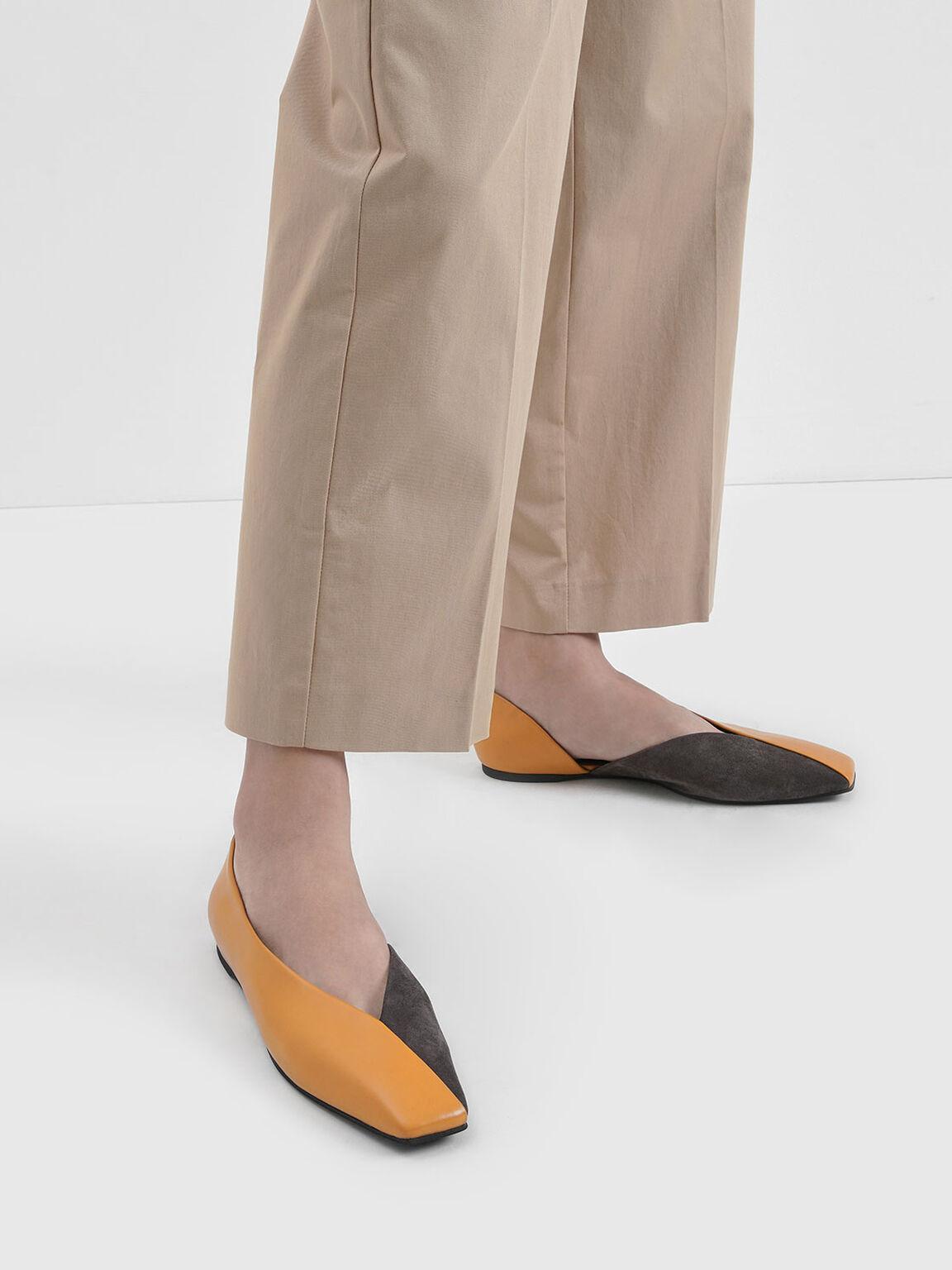 方頭拼接平底鞋, 焦糖色, hi-res