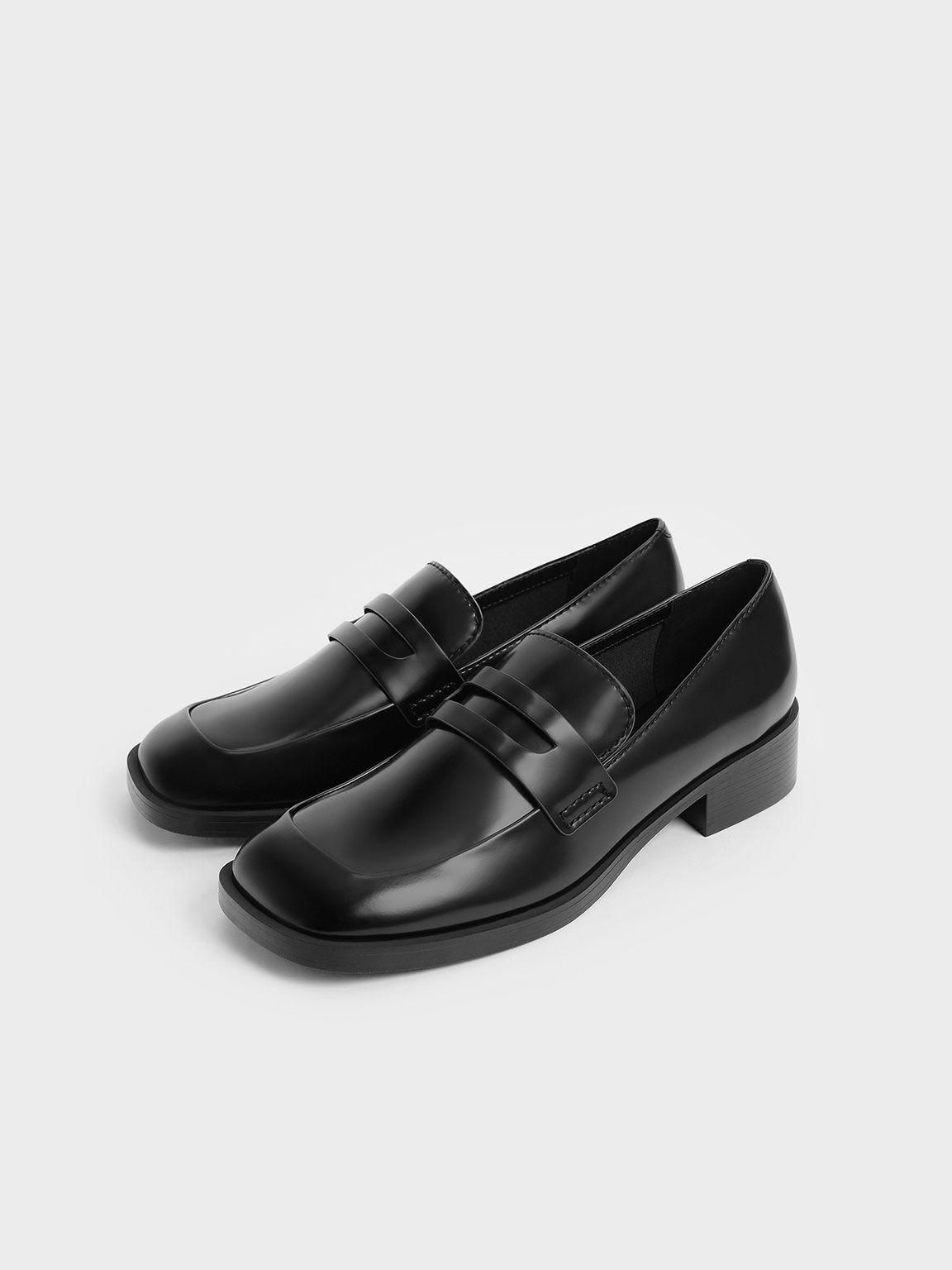 微正式粗跟樂福鞋, 黑色, hi-res