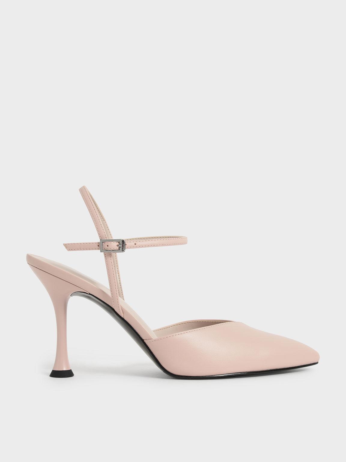 Sculptural Heel Ankle Strap Pumps, Nude, hi-res