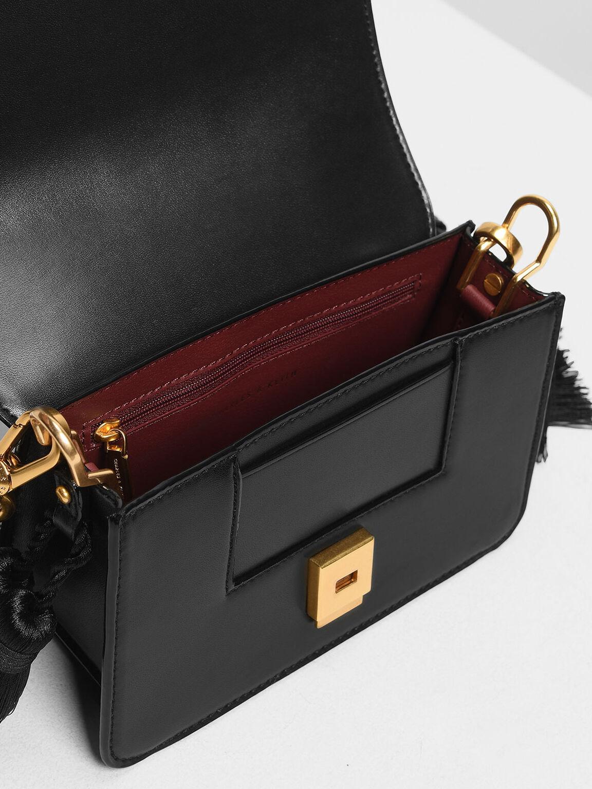 Tassel Shoulder Bag, Black, hi-res
