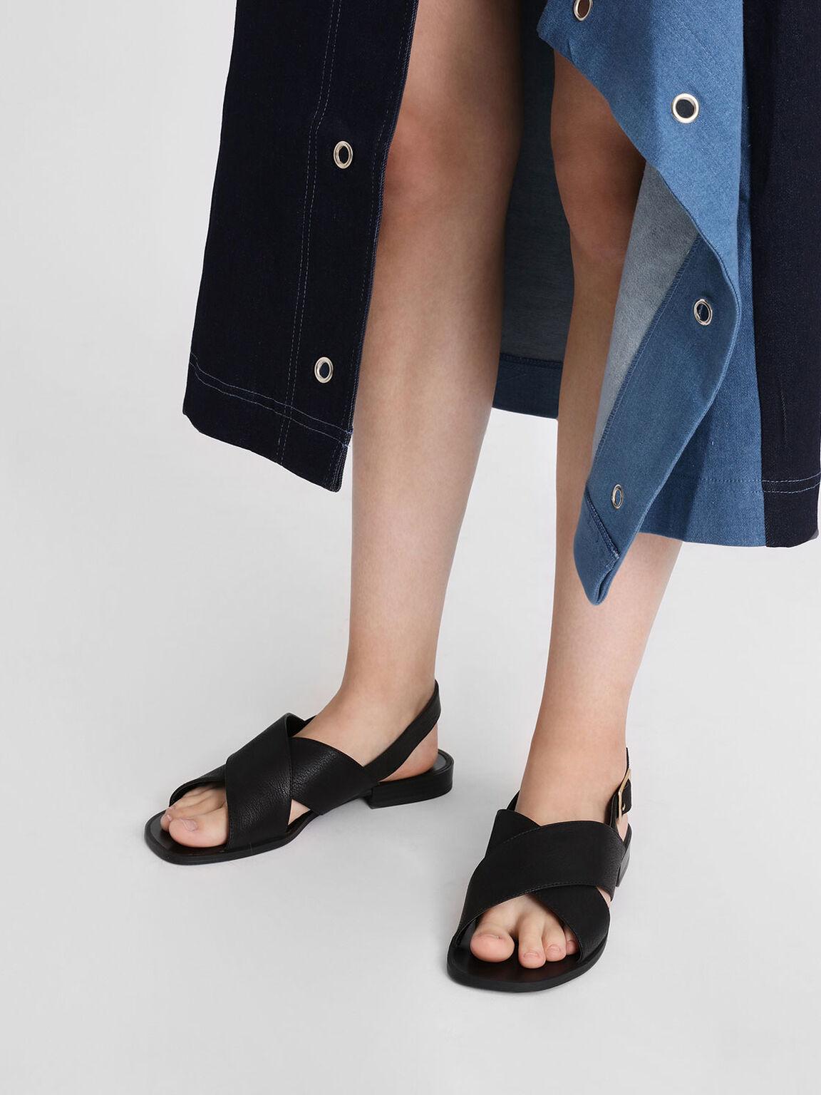 Crossband Slingback Sandals, Black, hi-res