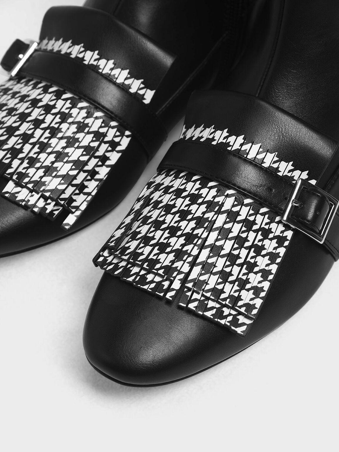 Houndstooth Printed Fringe Flat Ankle Boots, Black, hi-res