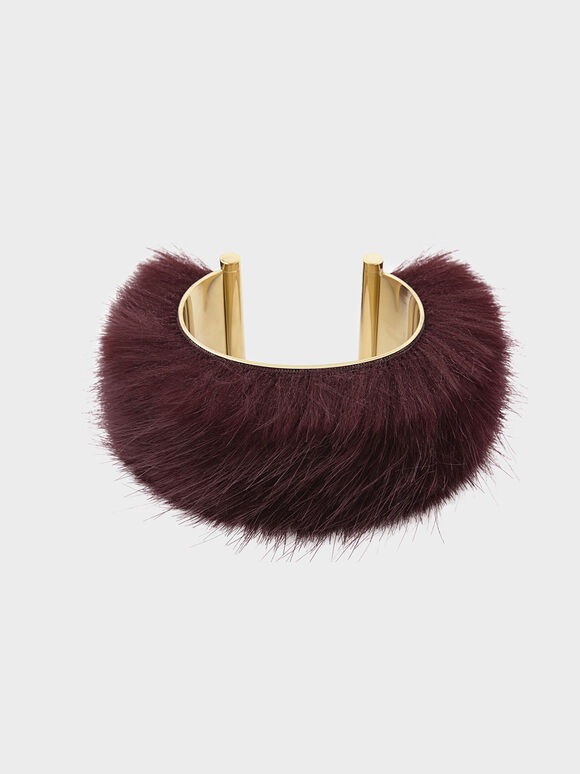 Furry Cuff, Burgundy, hi-res