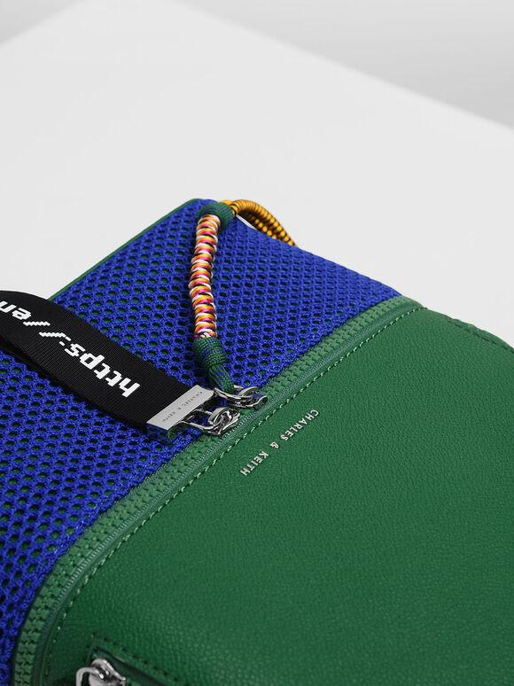 Two-Way Zip Mesh Detail Backpack, Green, hi-res