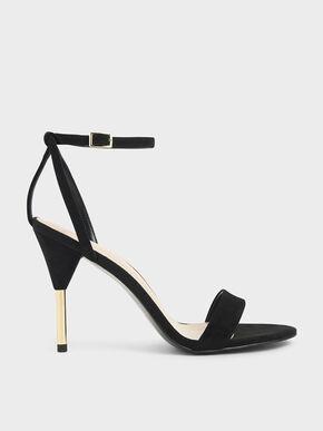 Textured Stiletto Heels, Black