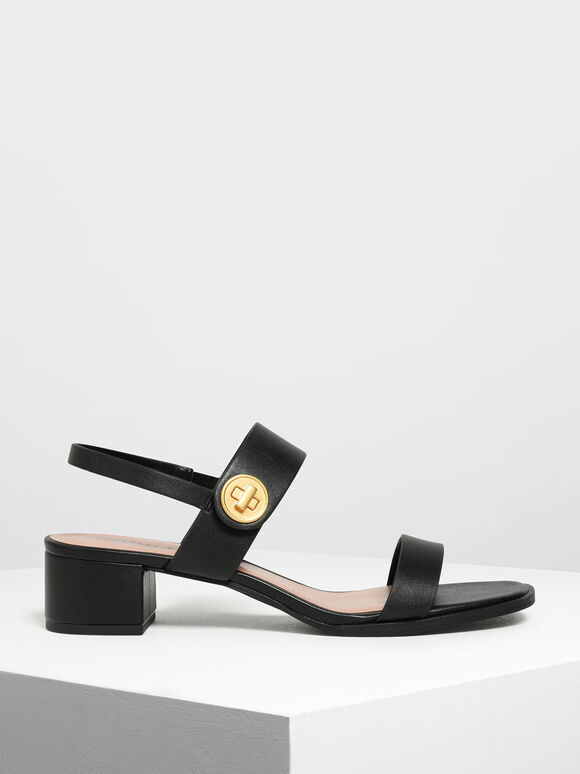 雙帶粗跟涼鞋, 黑色, hi-res
