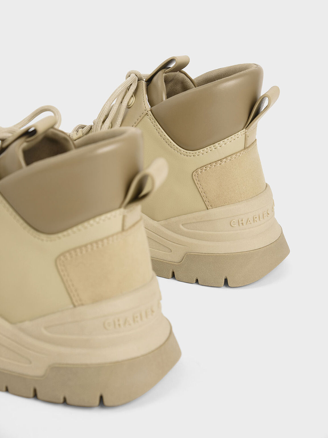 Textured High Top Sneakers, Beige, hi-res