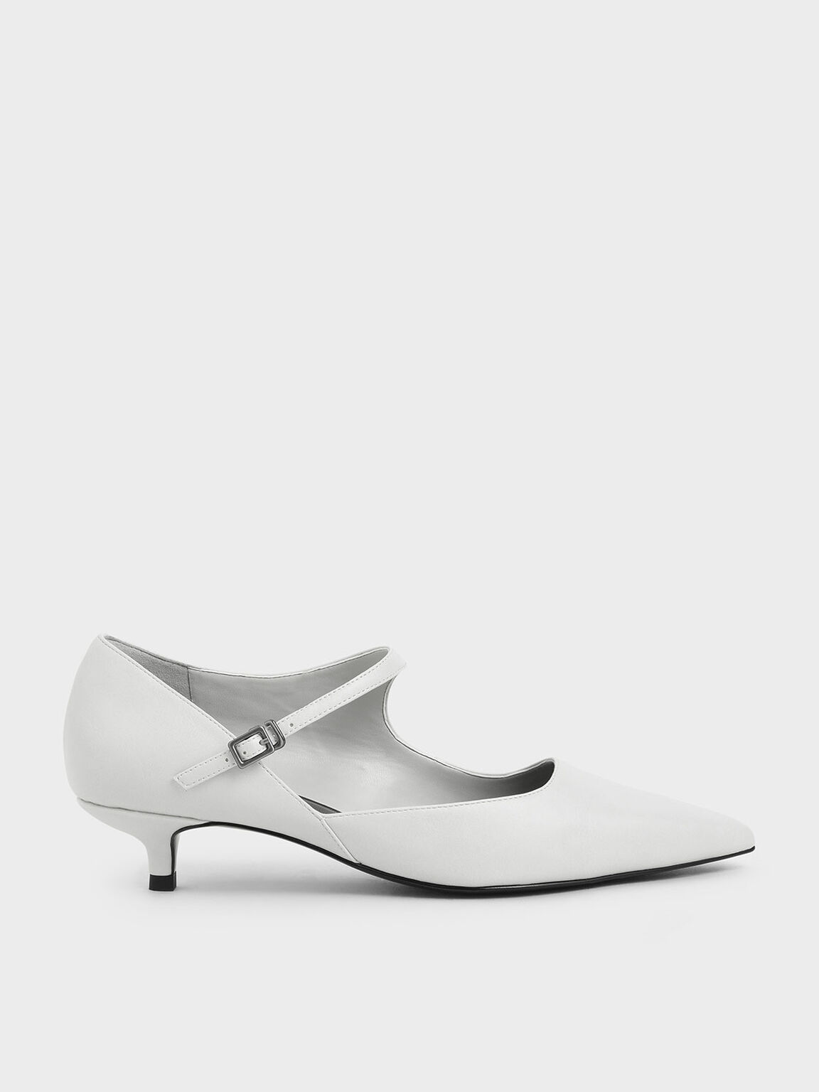 Asymmetric Mary Jane Kitten Heels, White, hi-res