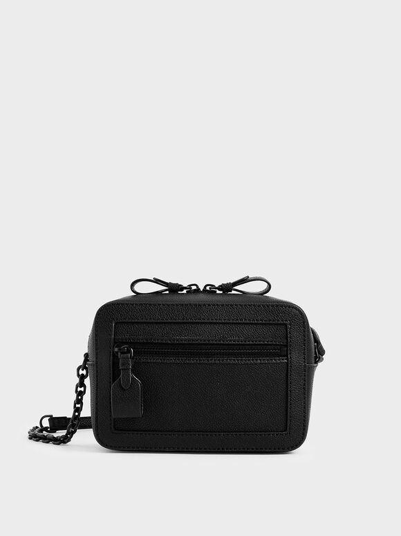 Two-Way Zip Boxy Bag, Black, hi-res