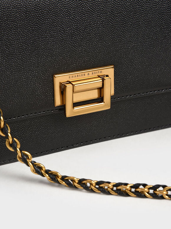 Chain Strap Evening Bag, Black, hi-res