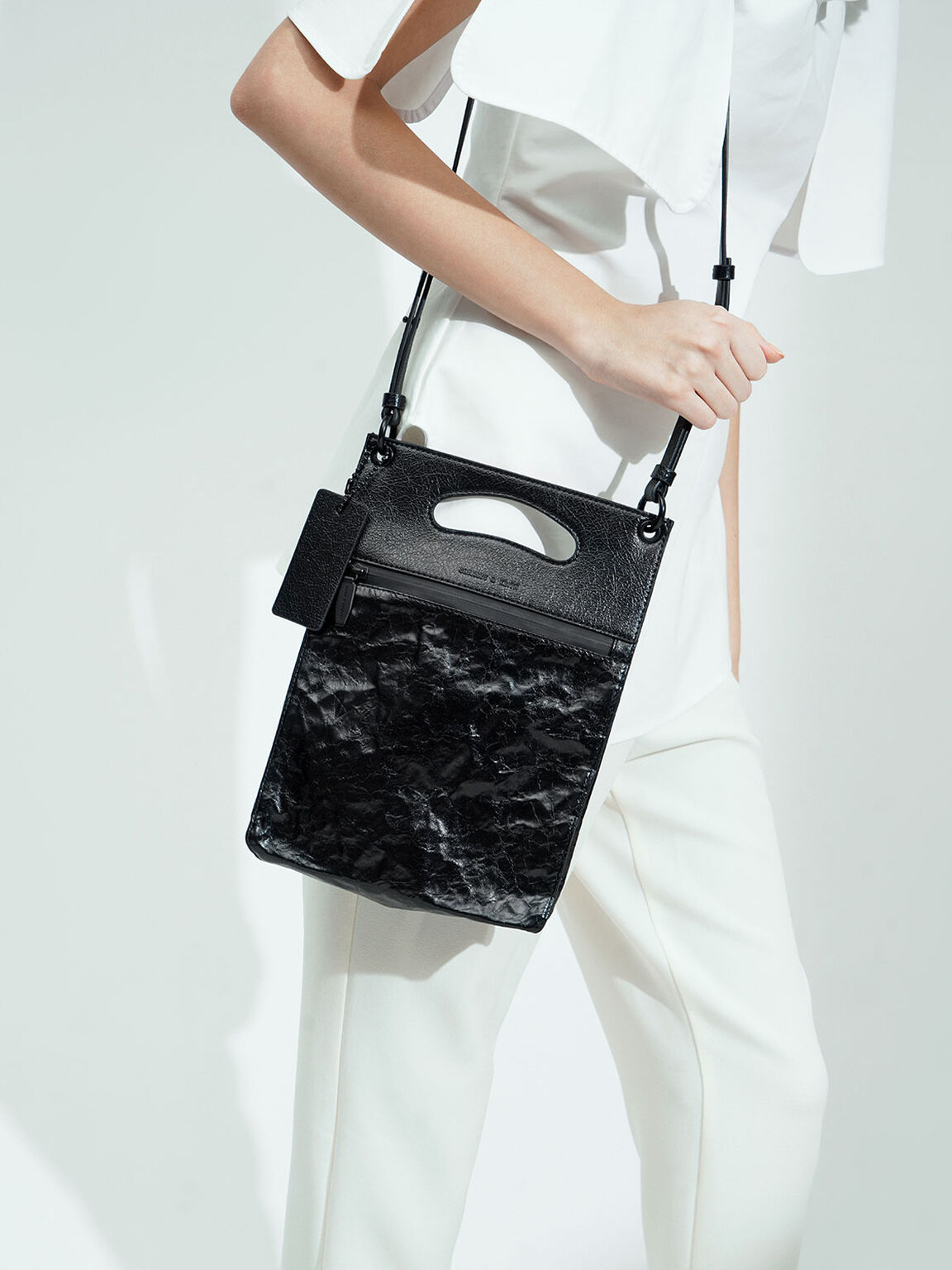 Crumpled-Effect Top Handle Clutch, Black, hi-res