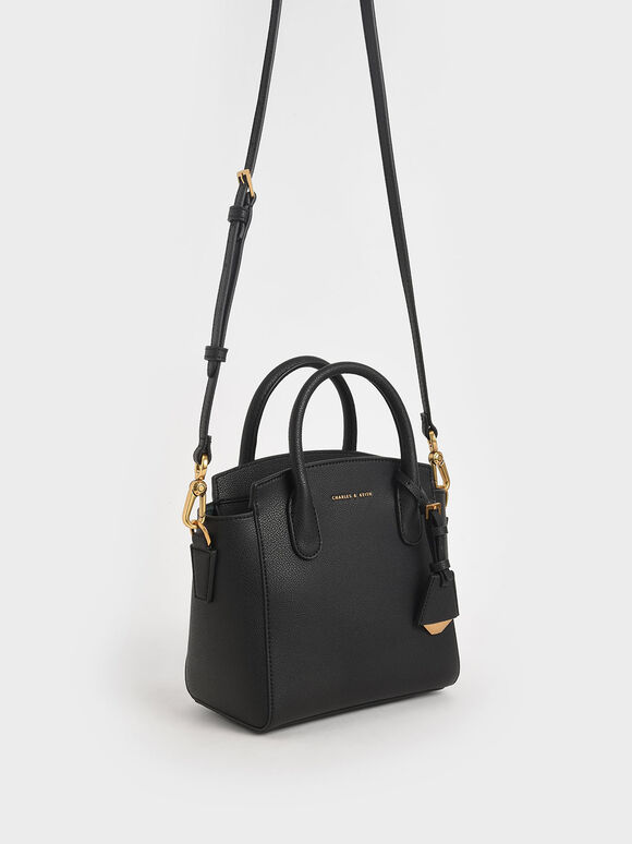 Double Handle Trapeze Tote, Black, hi-res