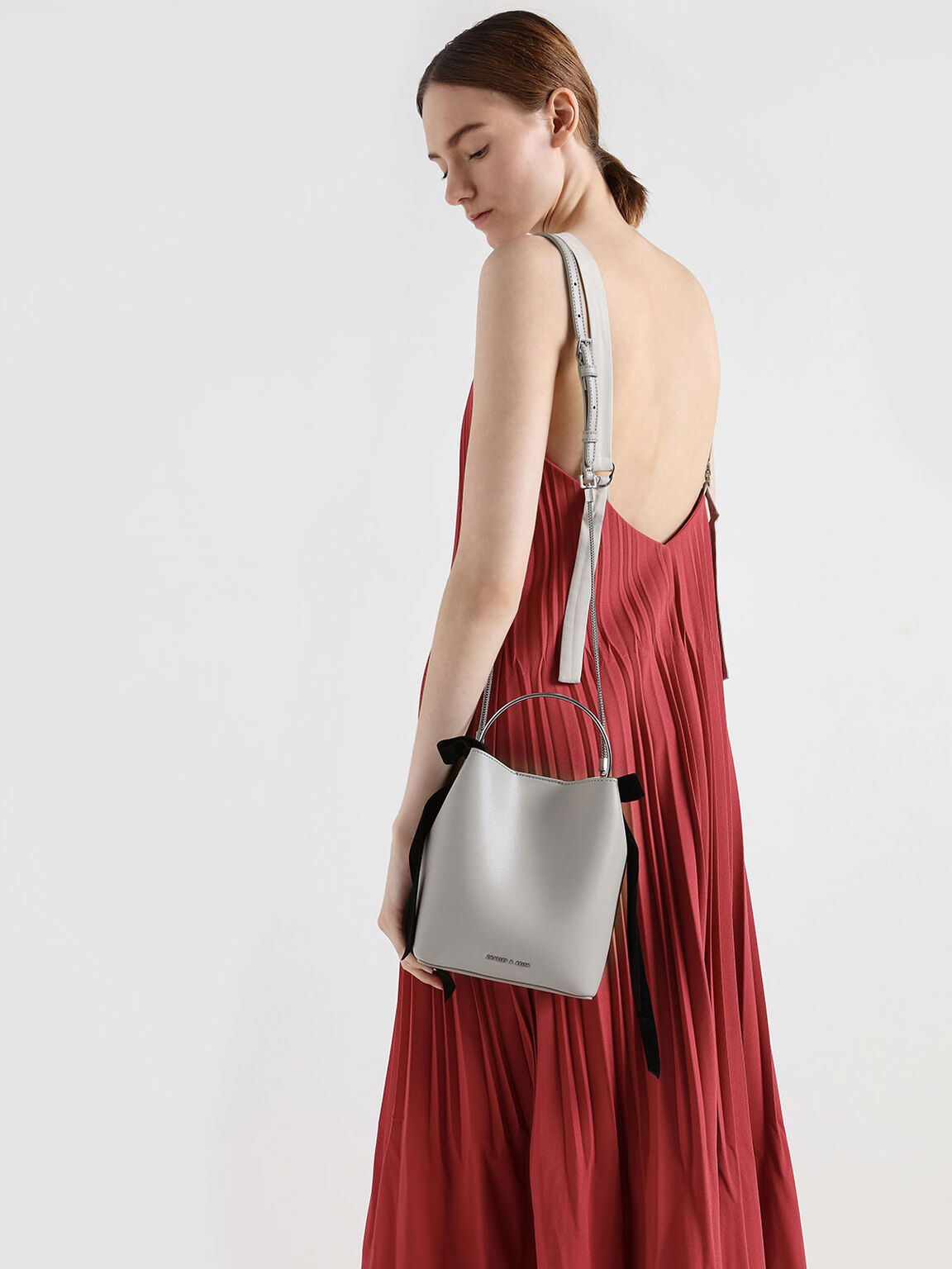 Velvet Bow Detail Bucket Bag, Grey, hi-res