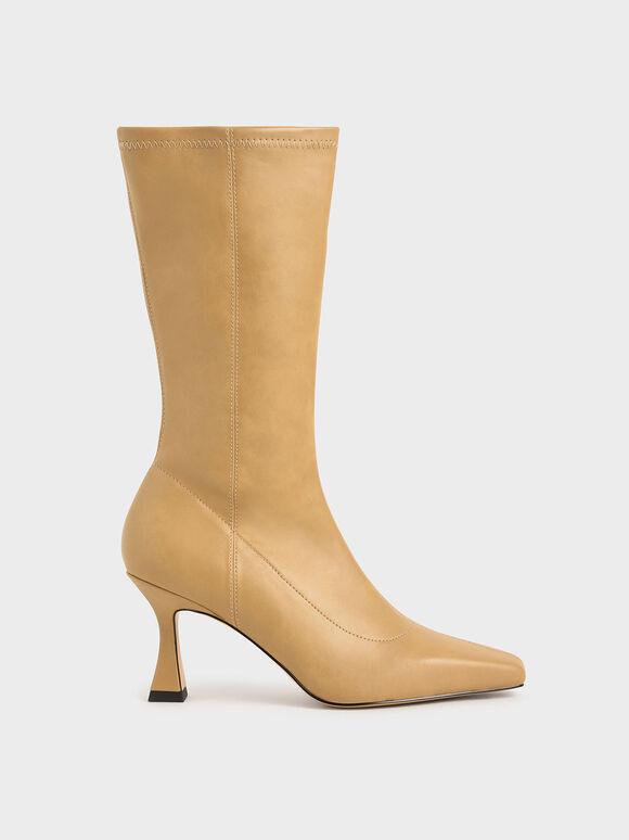 仿舊錐形跟長靴, 駝色, hi-res