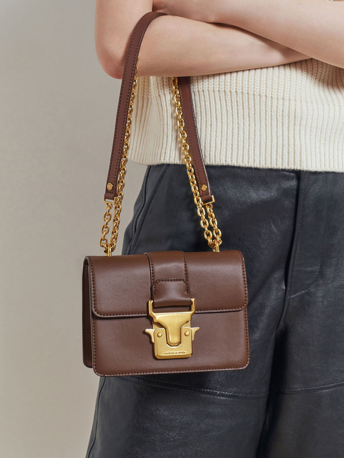 Double Handle Metallic Push-Lock Shoulder Bag, Dark Brown, hi-res