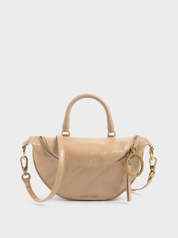 Wrinkled Patent Semi-Circle Crossbody Bag, Beige, hi-res