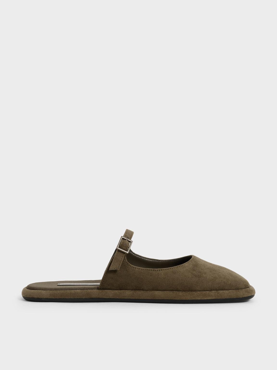 Textured Square-Toe Flat Mules, Olive, hi-res