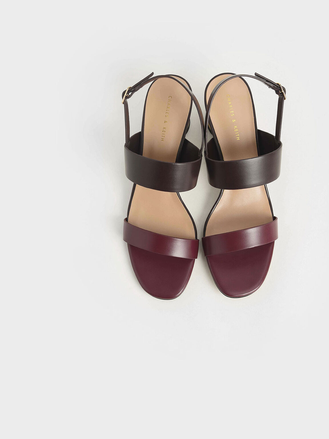 Two-Tone Cylindrical Heel Sandals, Burgundy, hi-res