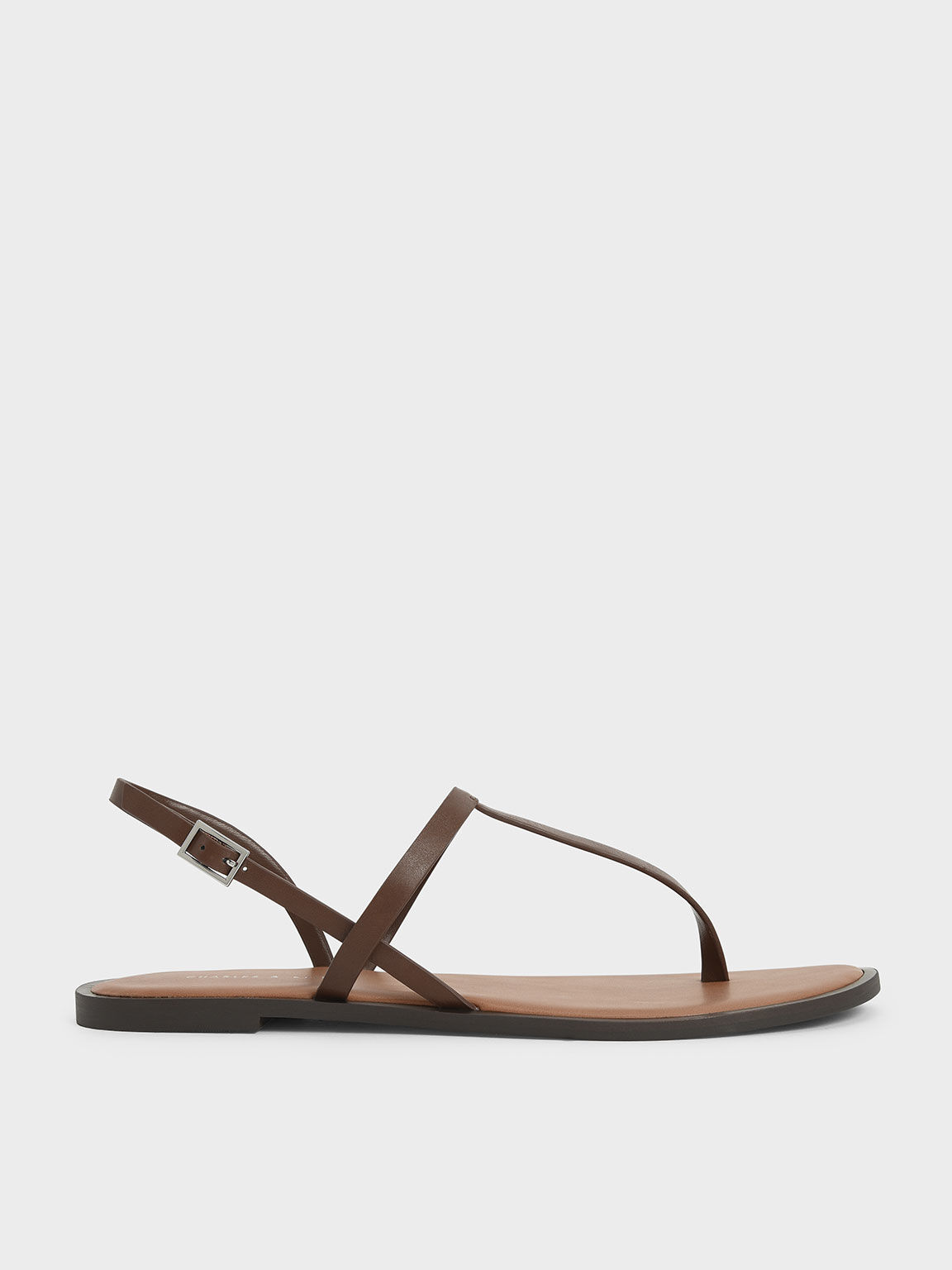 T-Bar Slingback Sandals, Brown, hi-res