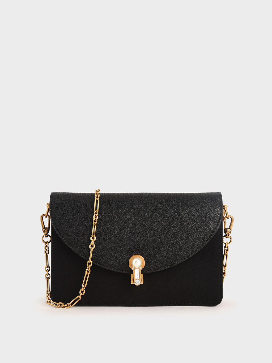 Textured Turn-Lock Clutch, Black, hi-res