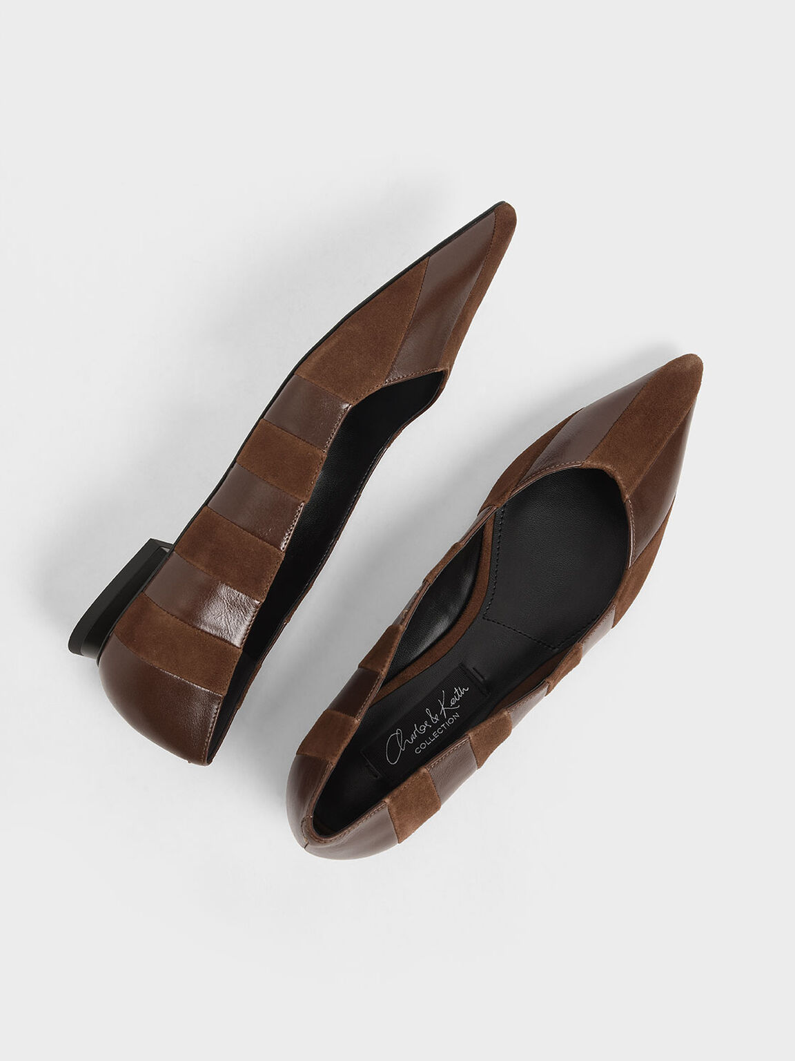 Kid Suede & Wrinkled Leather Striped Ballerina Flats, Cognac, hi-res