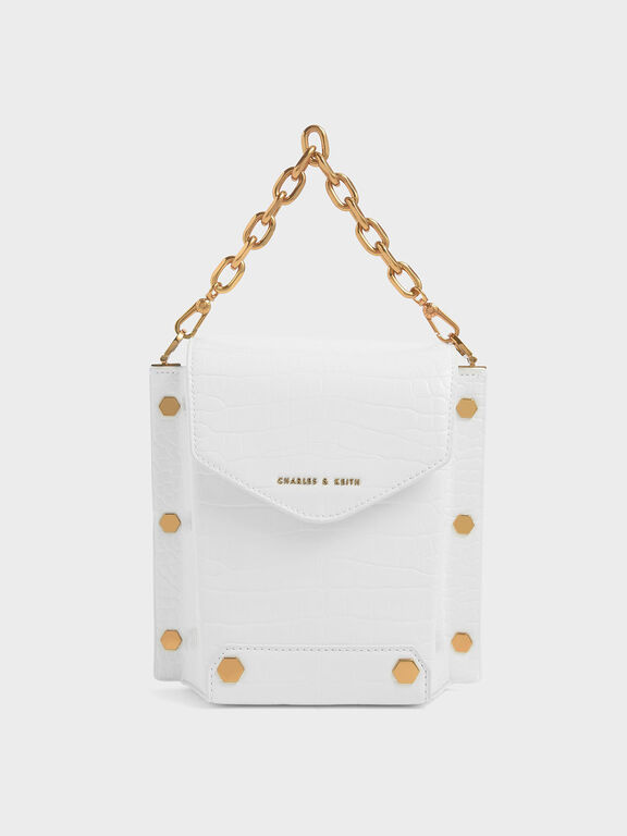 Croc-Effect Stud Detail Bag, White