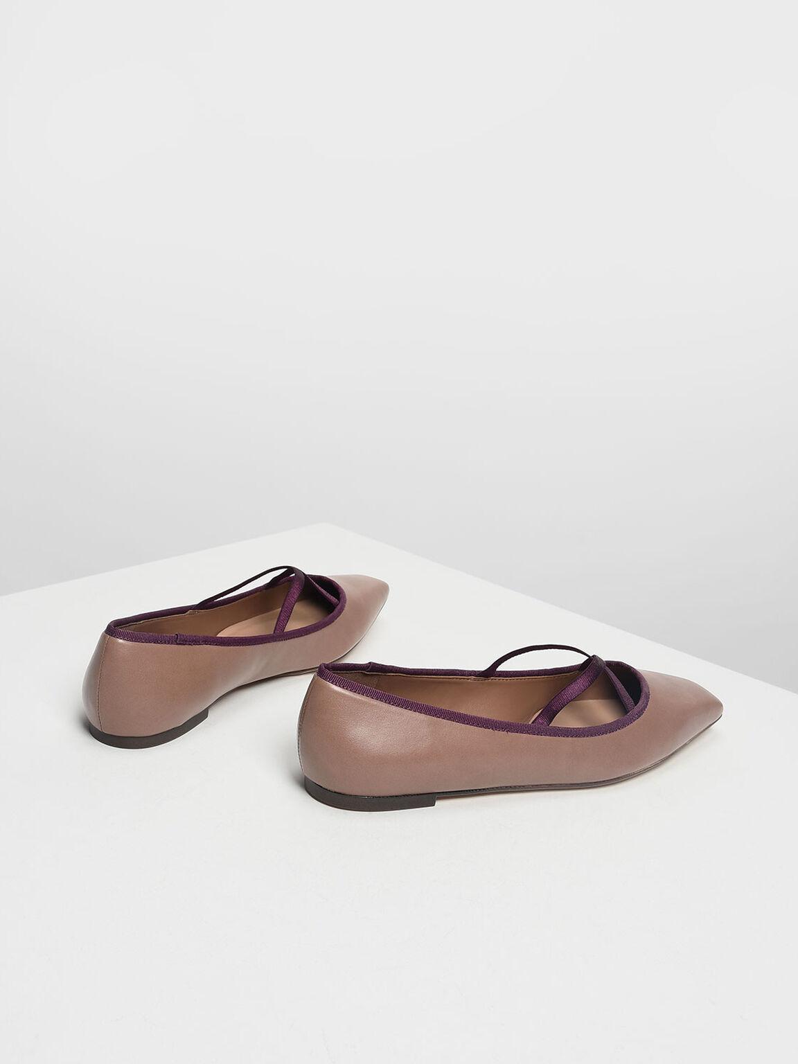 Crossband Ballerina Flats, Nude, hi-res