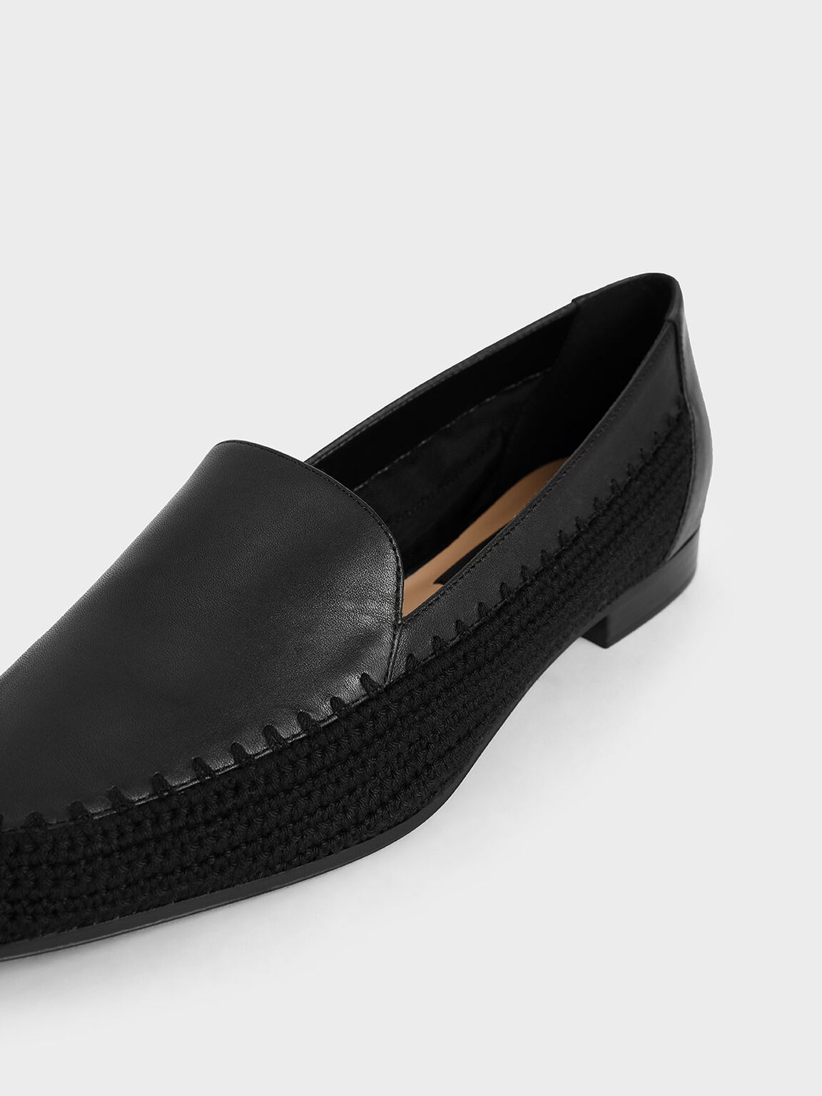 Leather Crochet Loafers, Black, hi-res