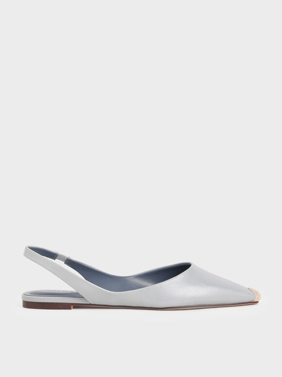 Espadrille Toe Cap Slingback Flats, Light Blue, hi-res