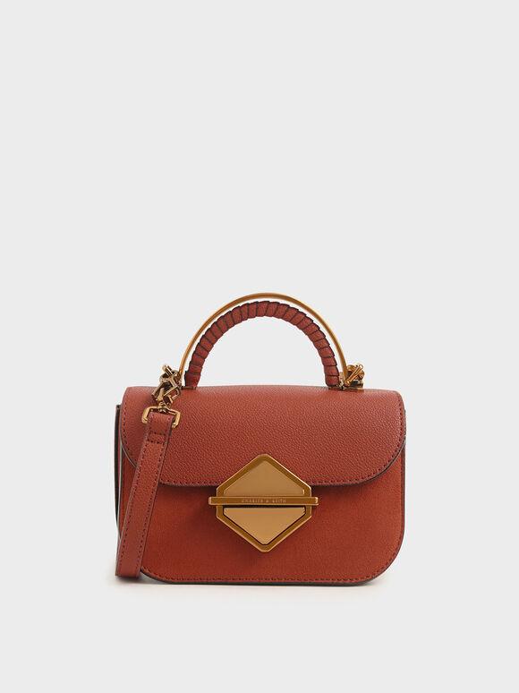 Metallic Accent Mini Top Handle Bag, Cognac, hi-res
