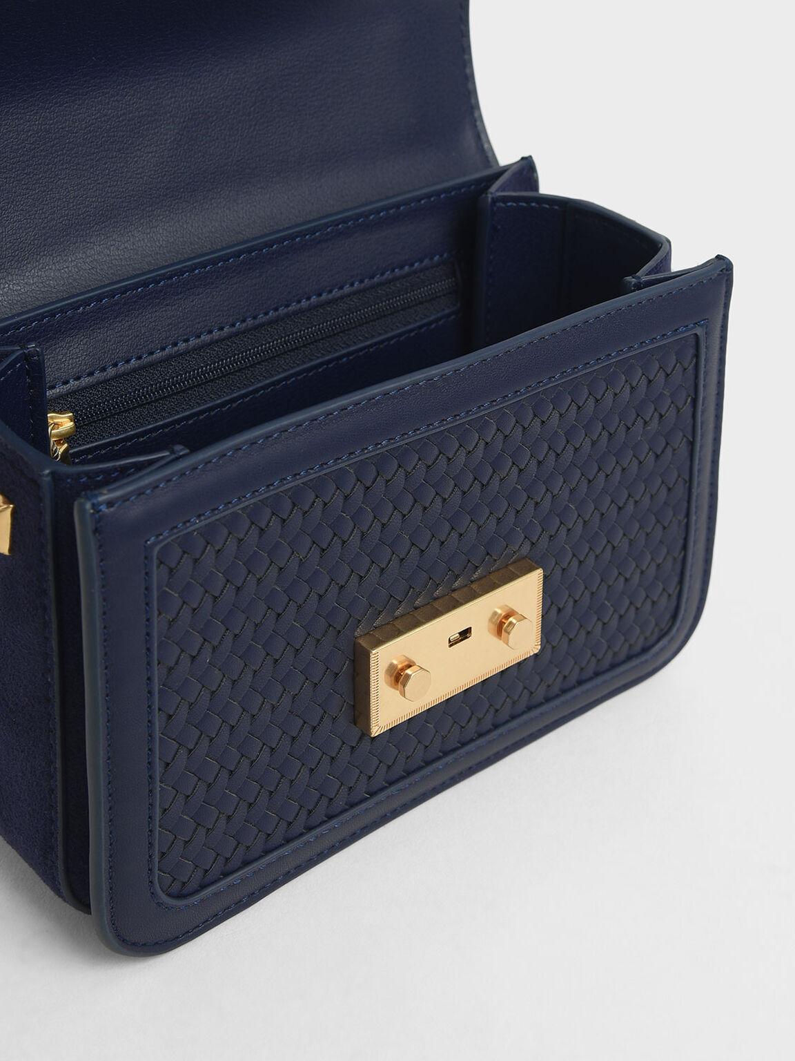 Woven Boxy Chain Strap Bag, Dark Blue, hi-res
