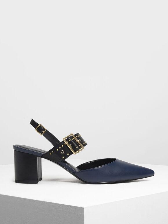 鉚釘尖頭低跟鞋, 海軍藍, hi-res