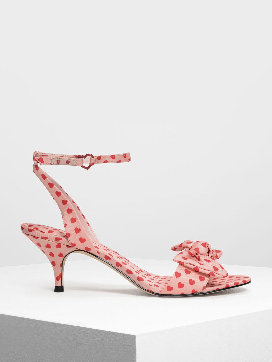 Heart Print Kitten Heels, Pink, hi-res