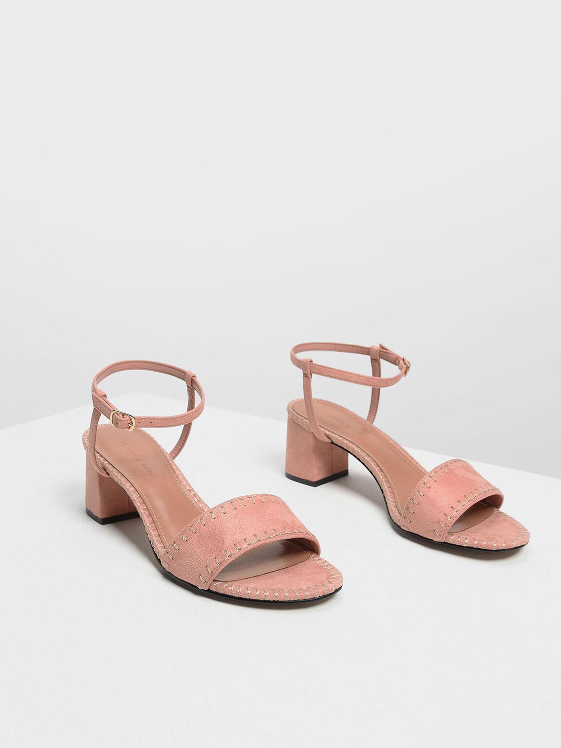 Whipstitch Suede Sandals, Blush, hi-res