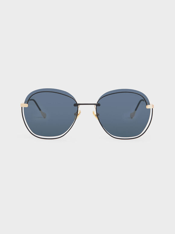 Cut Out Butterfly Sunglasses, Dark Blue, hi-res